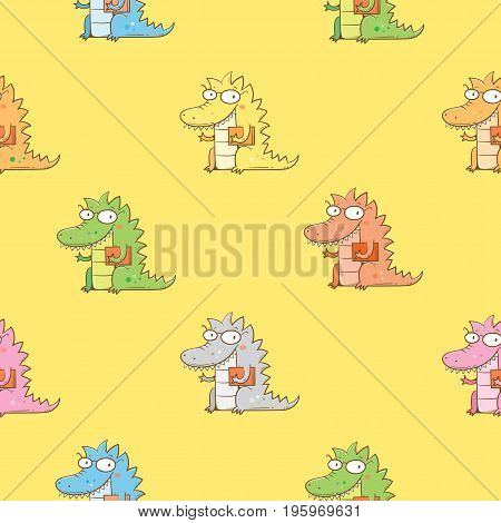 Seamless pattern  with cute cartoon dragon in glasses on yellow  background. Smart reptile with book. Funny animal. Vector contour image. Children's illustration.