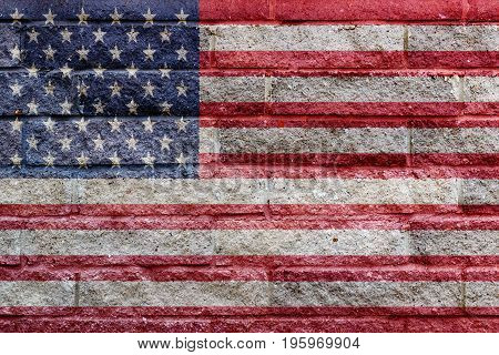 American Flag Painted On A Gray Stone Bricks Wall