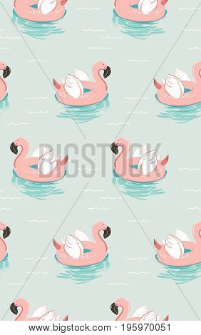 Hand drawn vector abstract summer time fun seamless pattern with pink flamingo float swimming pool buoy circle isolated on blue water background.