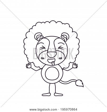 sketch silhouette caricature of cute lion in happiness expression and eyes closed vector illustration