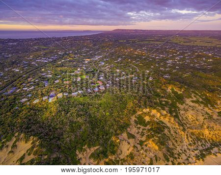 Aerial view of Mornington Peninsula suburban areas near Rye at sunset. Melbourne Australia