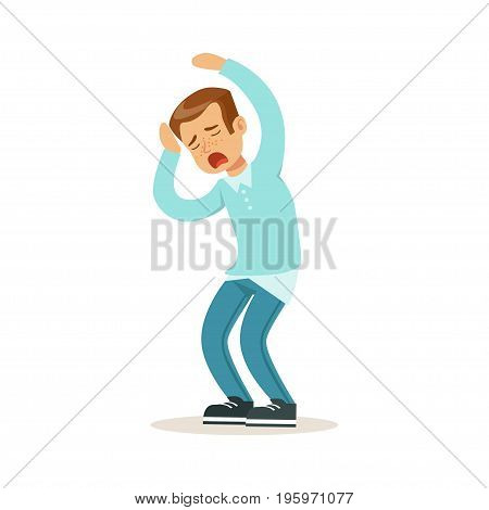 Desperate boy character being nervous vector Illustration isolated on a white background