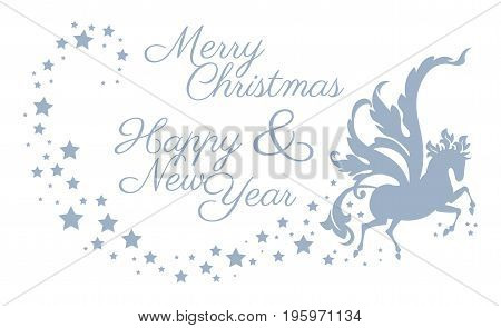 magic silver horse with wings and stars - Template Card Christmas and New Year