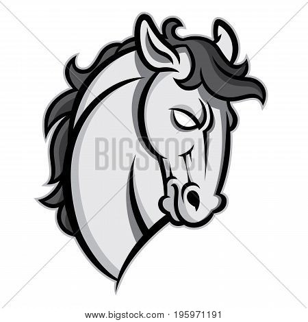 Mustang stallion horse head vector illustration - graphic mascot image isolated on white background