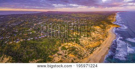 Aerial panorama of Mornington Peninsula suburban areas near Rye at sunset. Melbourne Australia