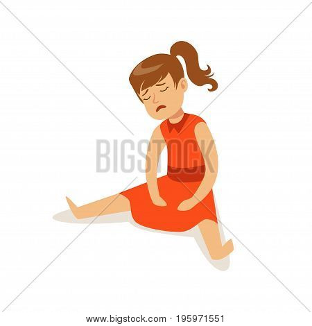Frustrated sad girl character on red dress sitting on the floor vector Illustration isolated on a white background