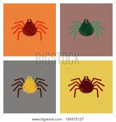 assembly flat shading style icons of halloween spider