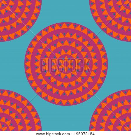 Ethnic seamless pattern with circles dots triangles. Tribal background. Vector illustration.