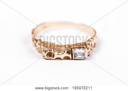 Gold Ring with diamond isolated on white background