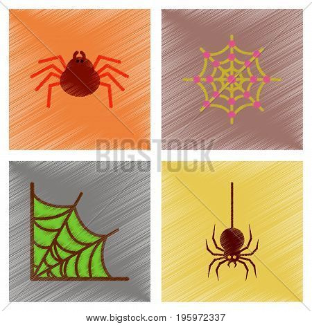 assembly flat shading style icons of halloween spider web