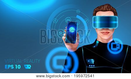 A young man in a cyber suit wearing virtual reality headset or glasses and touches the holographic interface. HUD. The application of virtual reality for smartphone. futuristic concept. VECTOR
