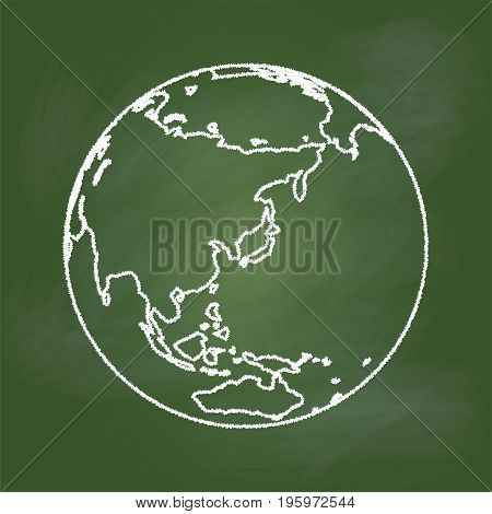 Hand drawing of the Earth on textured green board. Asia and Australia regional, Education Concept, Vector Illustration