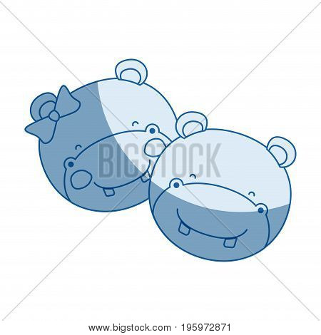 blue color shading silhouette faces of hippo couple animal happiness expression vector illustration