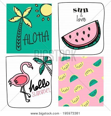 Set of vector cute cards.