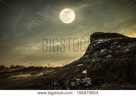 Landscape Of Rock Against Sky And Full Moon Above Wilderness Area In Forest.