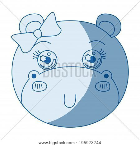 blue color shading silhouette caricature face of female hippo animal cute expression vector illustration