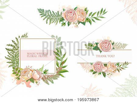 Textured frame, gentle color, the wedding and celebration, roses and watercolor blots, vector illustration, design for holidays