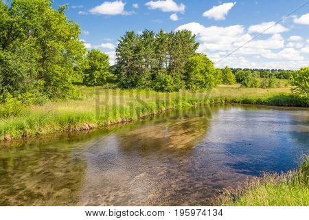 Shallow Kinnickinnic River In Wisconsin