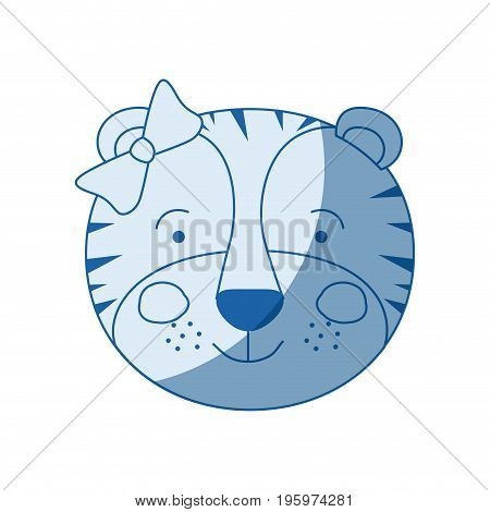 blue color shading silhouette caricature face of female tigress animal with bow lace vector illustration poster