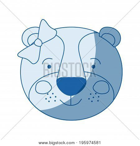 blue color shading silhouette caricature face of female lioness animal with bow lace vector illustration