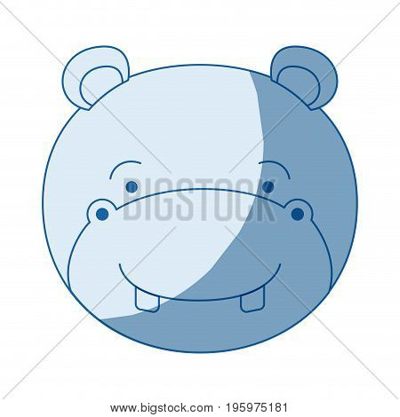 blue color shading silhouette caricature face of male hippopotamus animal vector illustration