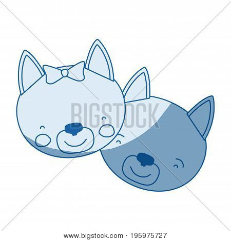 blue color shading silhouette caricature faces of cat couple animal happiness expression vector illustration