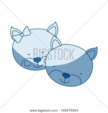 blue color shading silhouette caricature faces of kitten couple animal happiness expression vector illustration
