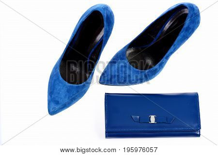 Purse With Buckle And High Heeled Suede Shoes In Blue