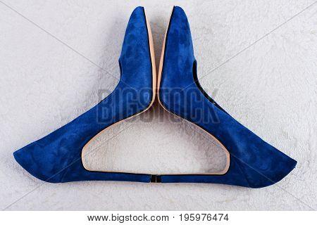 Pair Of Suede Formal Footwear, Top View. Female Shoes