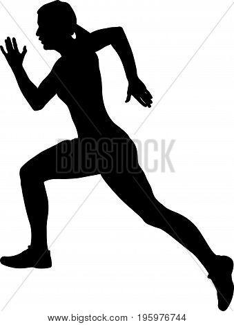 black silhouette girl athlete runner fast running