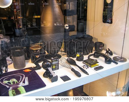 Zurich Switzerland - August 9 2007: View on window display from the street on home goods store Sibler AG selling kitchen utensil in black unicolor