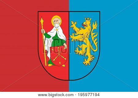 Flag of Zamosc County is a unit of territorial administration and local government in Lublin Voivodeship eastern Poland. Vector illustration