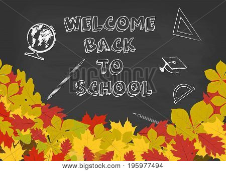 Welcome back to school background with chalkboard and autumn leaves. Vector illustration.