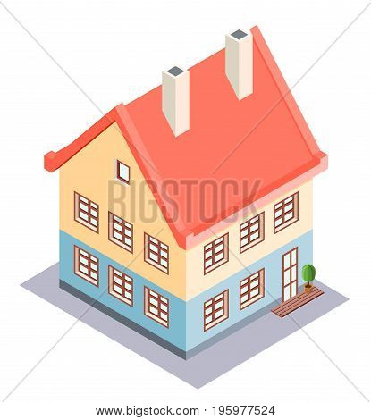Residential private house in the isometric projection. Vector illustration.