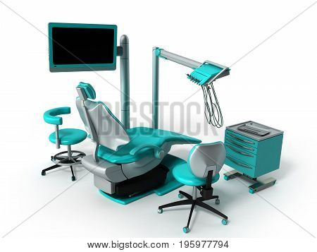 Dental Chair With Blue Bedside Tables 3D Render On White Background