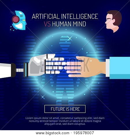 Artificial intelligence mind composition with robot and human hands stretched to each other with editable text vector illustration