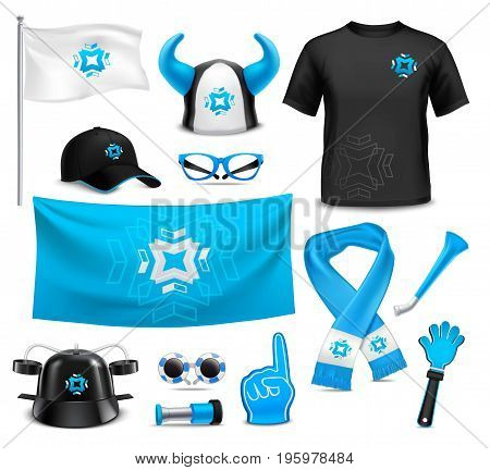 Sport club team supporters identity accessories realistic images collection with flag cap glasses waving hand vector illustration