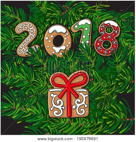 2018 Christmas, New Year greeting card design with gingerbread present gift cookie on fir tree branches background. Christmas, New Year greeting card, banner with gingerbread present cookie