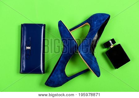 Clutch And Female Footwear With Bottle Of Scent