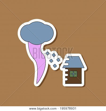 paper sticker on stylish background of tornado destruction house