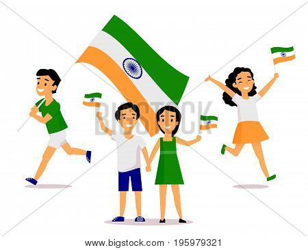 Set of Indian people, man, woman, kids, holding and waving Indian flags, cartoon vector illustration isolated on white background. Indian people with their national tricolor flags, big and small