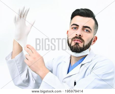 Man With Serious Face In Laboratory Coat On White Background