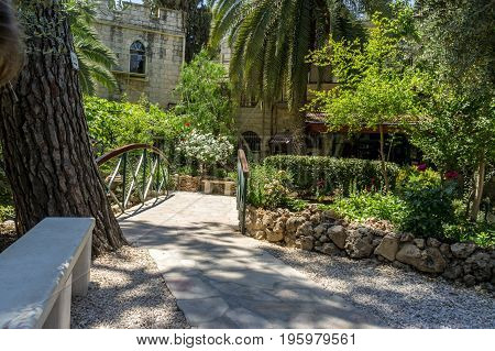 The Garden Tomb outside the walls of the Old City of Jerusalem near Damascus Gate Israel