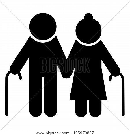 Elderly couple with walking stick icon. Old people silhouette symbol. Vector illustration