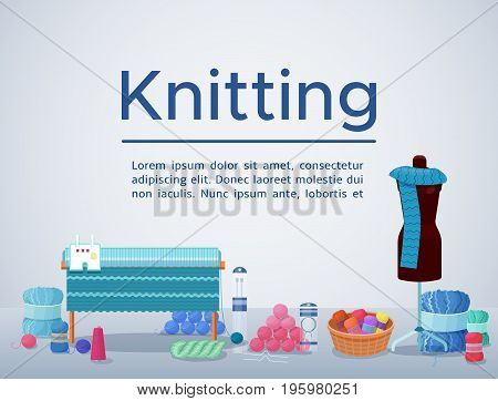 Knitting or handmade workshop vector web banner or background with needlework and handicraft accessories, crafts icons isolated, good for wool or hobby shop