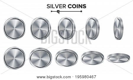 Empty 3D Silver Coins Vector Blank Set. Realistic Template. Flip Different Angles. Investment, Web, Game App Interface Concept. Coin Icon, Sign, Banking Cash Symbol