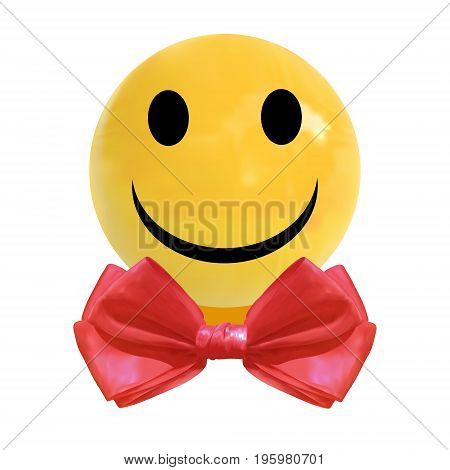 VECTOR realistic dragee candy with smiley face and red bow tie isolated on white