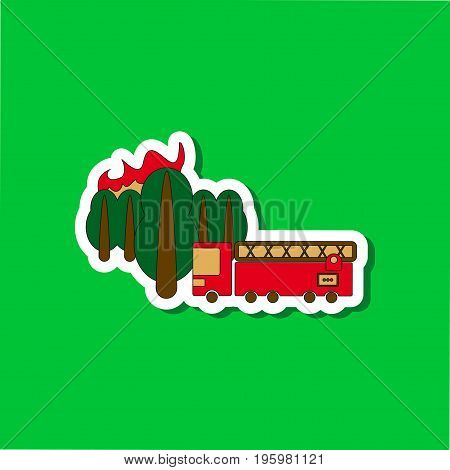 paper sticker on stylish background of Forest fire truck