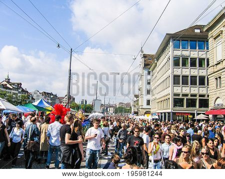 Zurich, Switzerland - August 11, 2007: Techno Street Parade With Crowd Of Many People