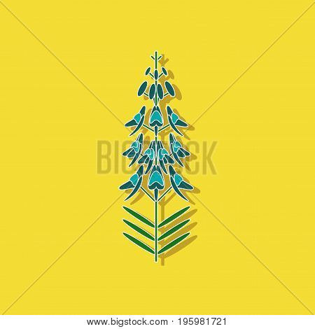 paper sticker on stylish background of herb Linaria